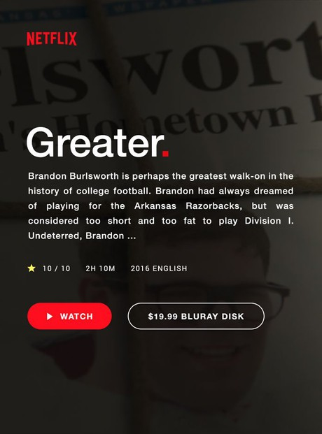 Greater: The Brandon Burlsworth Story