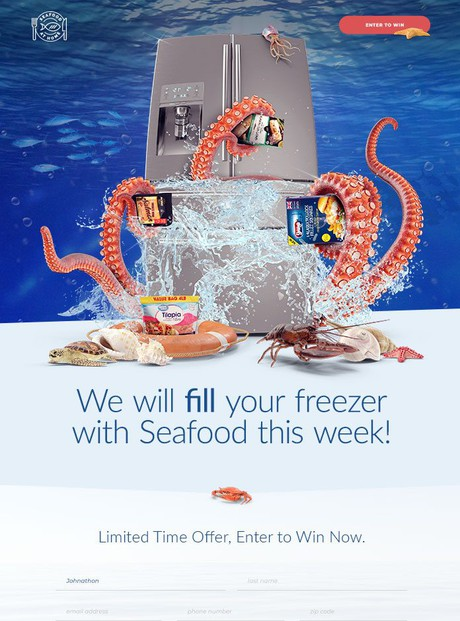 Seafood At Home Landing Page Design
